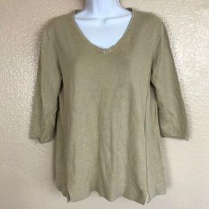 J Jill Beige Sweater 3/4 Sleeve